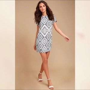 LULUS Give Me A Print Ikat Dress slate gray NWT S